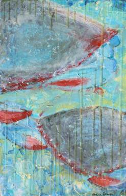 """""""Blue Crabs from Nicks"""" mixed media textured abstract on wood"""